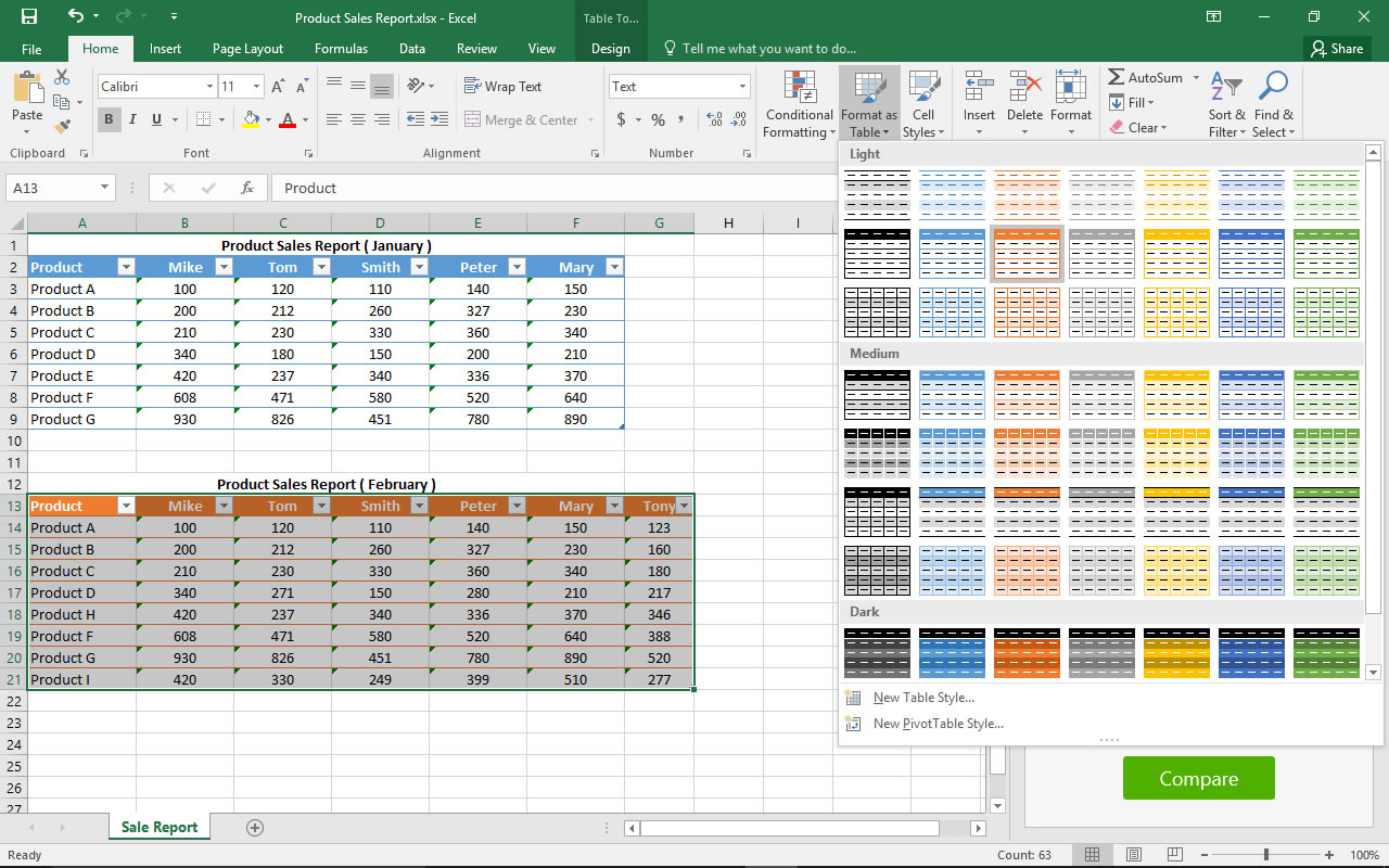 Compare Tables for Excel
